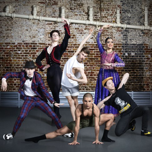 BBC Young Dancer finalists. Back (left to right): Archie Sullivan, Connor Scott, Vidya Patel. Front: Harry Barnes, Jason O'Connell, Kieran Lai.