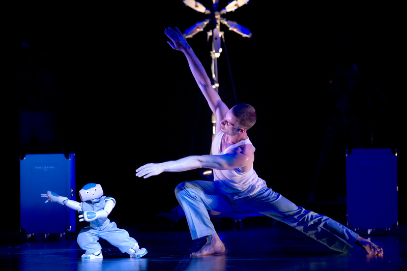 Gaël Rougegrez and dances with a NAO Robot in Blanca Li's Robot. Photo: Laurent Philippe