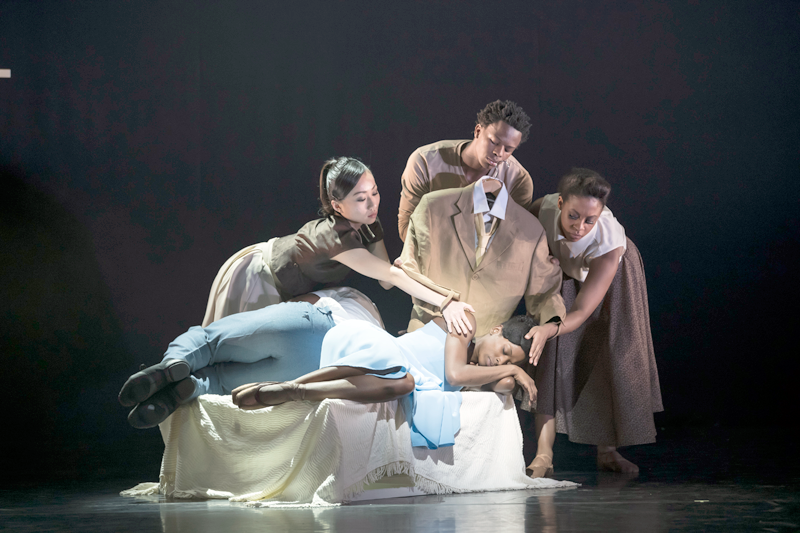 Ballet Black in Cathy Marston's The Suit. Sayaka Ichikawa, Mthuthuzeli November, Isabela Coracy and Cira Robinson.