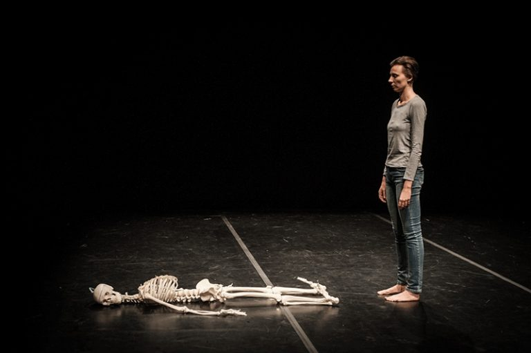 Renata Piotrowska-Auffret with her skeleton in Death: Exercises and Variations. Photo: Marta-Ankiersztejn