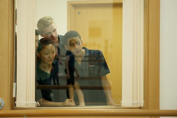 Studetns watch a ballet class at Elmhurst School for Dance