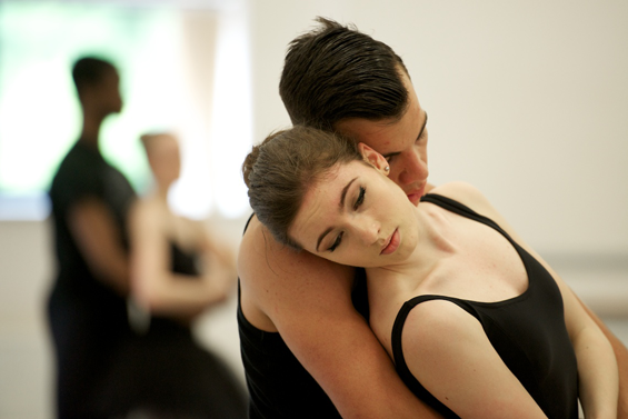Final year students rehearse the white swan pas de deux from Swan Lake