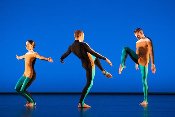 """Michael Clark Company: Melissa Hetherington, Daniel Squire and Benjamin Warbis in th """"Albatross"""" section."""