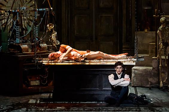 Steven McCrae (The Monster) and Federico Bonelli (Victor Frankenstein) in Liam Scarlett's Frankenstein for the Royal Ballet. PhotoL ROH/Bill Cooper