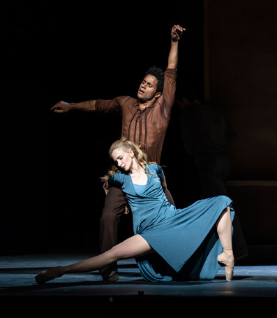Marcelino Sambé and Lauren Cuthbertson in Cathy Marston' The Cellist, for the Royal Ballet. Photo © Bill Cooper