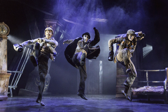 Will Kemp (Ratty), Christopher Akrill (Badger) and Clemmie Sveaas (Mole) in William Tuckett's The Wind in the Willows