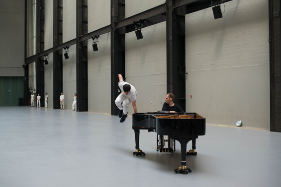 Anne Teresa De Keersmaeker's Work/Travail/Arbeid at the Tate Modern, London. Rosas dance company and Ictus music ensemble.