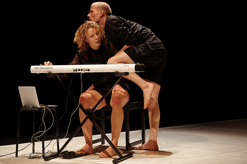 Timothy and the Things (Emese Cuhorka and László Fülöp) in Your Mother at My Door. Photo: Gábor Dusa