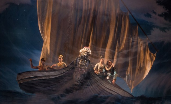 The ship, just before the shipwreck, in English National Ballet's Le Corsaire.