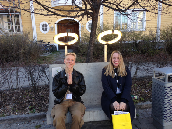 LIttle angels? Fellow Spring Back writers Donald Hutera and Sally Marie in Umeå, Sweden, April 2014.